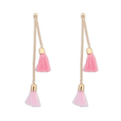 Habors Pink Tassels Earrings for Women (JFED0579)