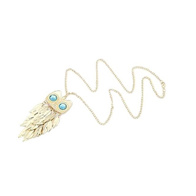 Habors Rose Gold Blue-Eyed Owl Pendant with Long Chain