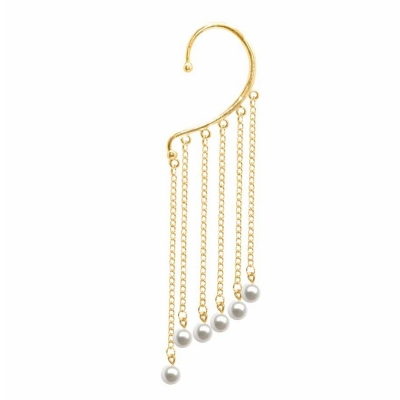 Habors Gold Earcuff with Drop Down Pearls