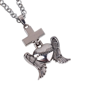 Habors Silver Sacred Heart Cross Pendant Chain Necklace for Men