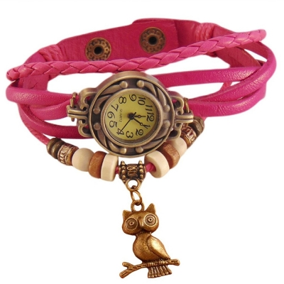 Habors Multiband Watch Pink Bracelet With Owl charm for Girls