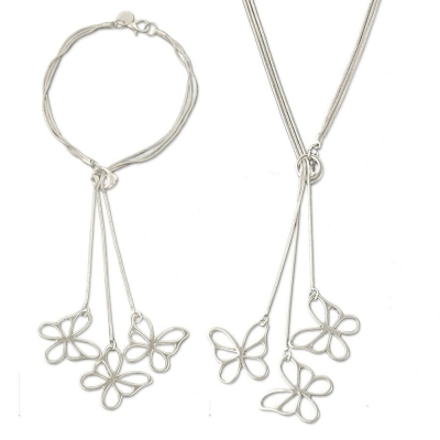Silverswan 925 Sterling Silver Plated Butterfly Necklace and Bracelet Set for Women