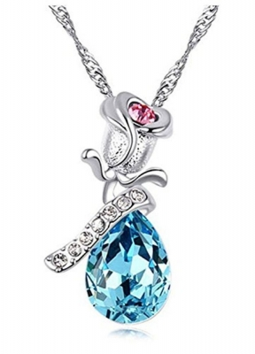 Habors 18K Gold Plated Blue Austrian Crystal Rose Pendant for Women