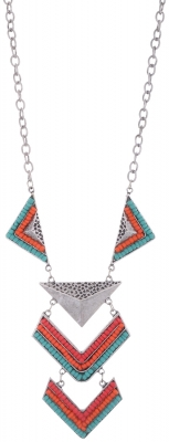 Habors Multicolor Goemetric Emblem Long Necklace