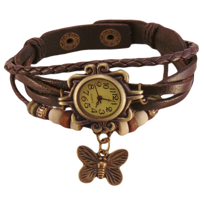 Habors Brown Strap Butterfly Charm Bracelet For Women (Jfbd314Br)