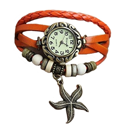 Habors Multiband Watch Orange Bracelet With Star Charms