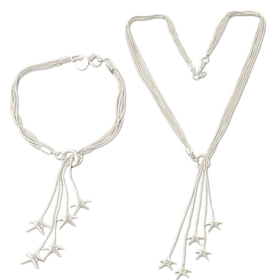 Silverswan 925 Sterling Silver Plated Dragon Star Charms Necklace and Bracelet Set For Women
