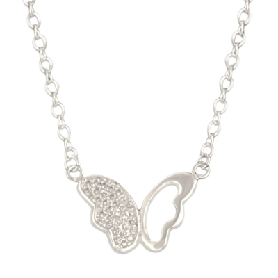 Silverswan 925 Sterling Silver Plated Rhinestone Studded Butterfly Pendant Necklace for Women