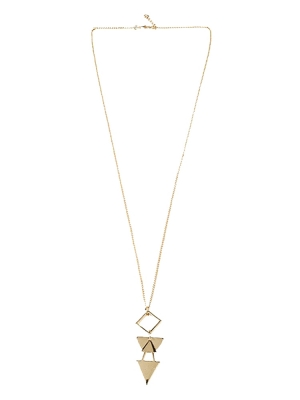 Habors 18K Gold Plated Long Triple Motif Pendant Necklace for Women (JFND0455)