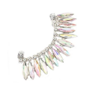 Habors Rhinestone Stud Earring For Women (Silver)