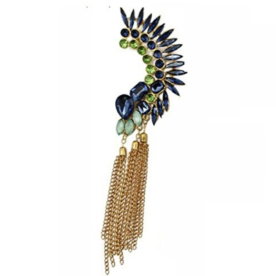 Habors Megara Blue Crystal Flower with Tassels Ear Cuff