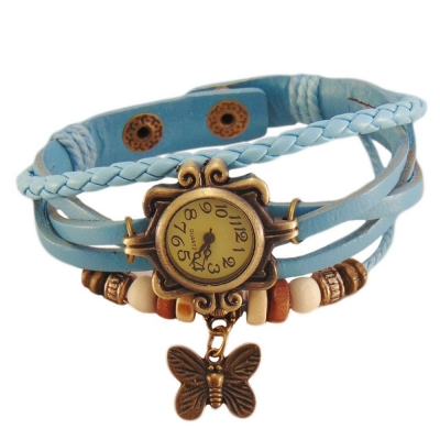 Habors Multiband Watch Light Blue Bracelet With Butterfly charm for Girls