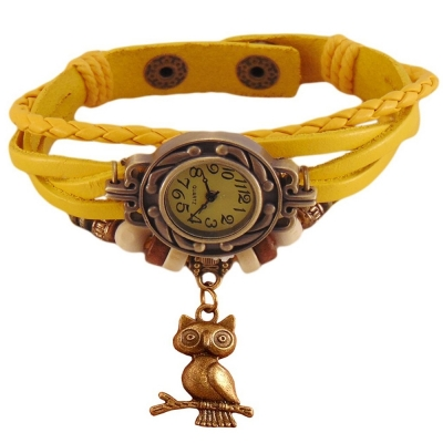 Habors Multiband Watch Yellow Bracelet With Owl charm for Girls