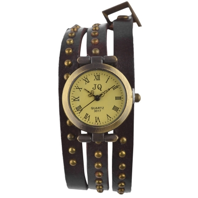 Habors Multiband Watch Brown Bracelet With Rivet Charms