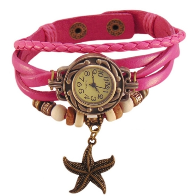 Habors Multiband Watch Pink Bracelet With Star Charms