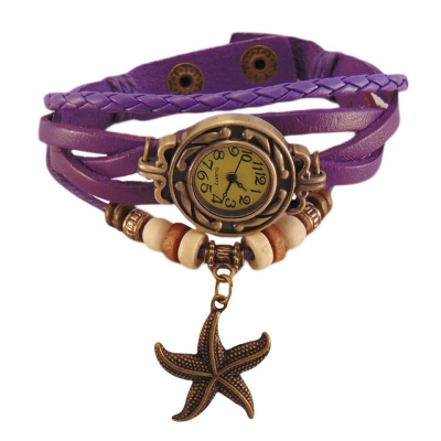 Habors Multiband Watch Purple Bracelet With Star charm for Girlss