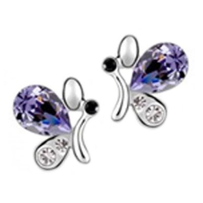 Habors 18K White Gold Plated Purple Austrian Crystal Butterfly Earrings