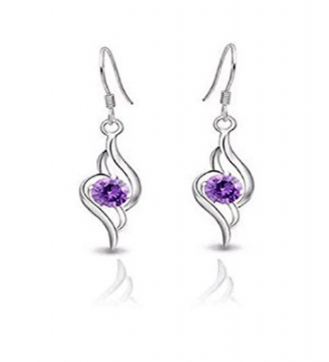 Habors 18K White Gold Plated Purple Austrian Crystal Angel Wing Heart Earring for Womens