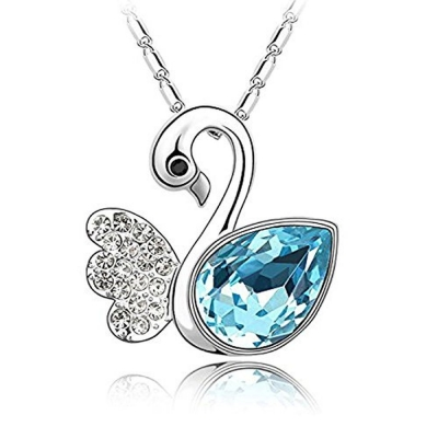 Habors 18K White Gold Plated Ocean Blue Austrian Crystal Swan Angel Pendant