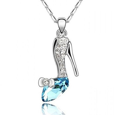 Habors 18K White Gold Plated Blue Austrian Crystal Cinderella High Heeled Pendant for Women