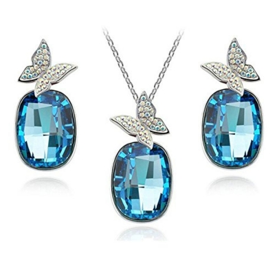 Habors 18K Gold Plated Butterfly On Crystal Blue Necklace and Earring Set (JFND0433)