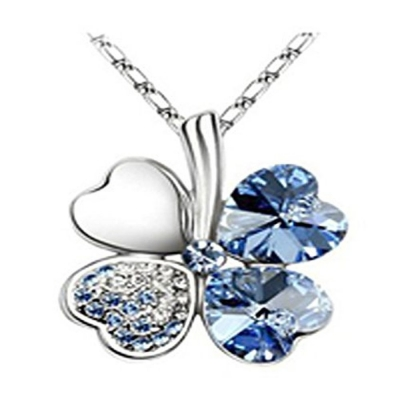 Habors 18K White Gold Plated Luminous Blue Austrian Crystal Clover Leaf Pendant for Women