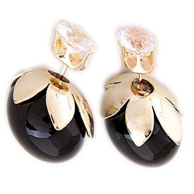 Habors Rhinestone Studed Black Pearl Earrings for Women