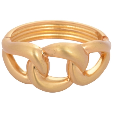 Habors Gold Braid Knot Design Cuff Bracelet for Women (JFBD90020)