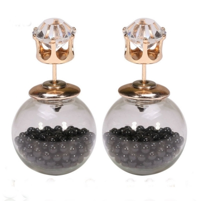 Habors Zircon and Black Glass Bottle Double Side Earrings for Women