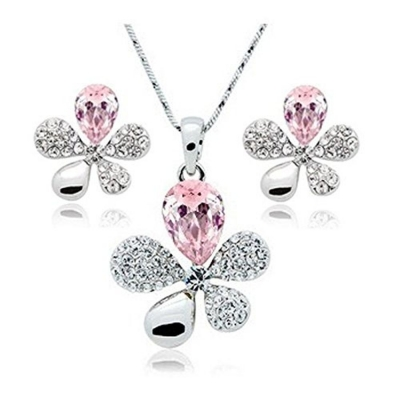 Habors 18K White Gold Plated Pink Austrian Crystal Adelia Pendant Set