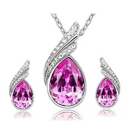 Habors 18K White Gold Plated Bright Pink Austrian Crystal Astra Pendant Set