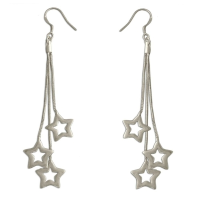 Habors Silverswan 925 Sterling Silver Plated Aria Dangling Star Earrings For Women