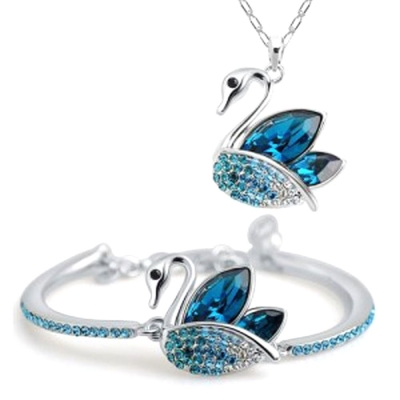 Habors 18K White Gold Plated Swan Pendant and Bracelet Set (JFND0435)