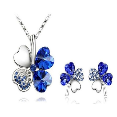 Habors 18K White Gold Plated Blue Austrian Crystal Clover Leaf Pendant & Earring Set