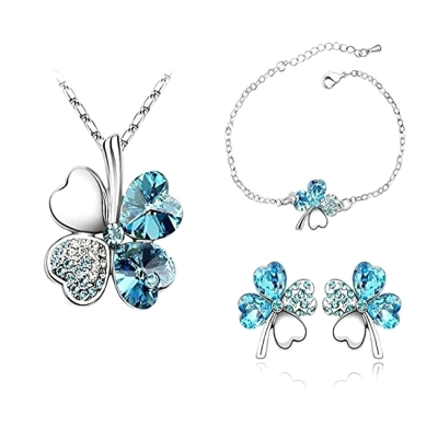 Habors 18K White Gold Plated Ocean Blue Austrian Crystal Astra Jewelery Set