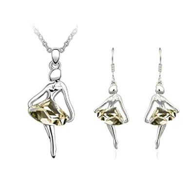 Habors 18K White Gold Plated Champagne Austrian Crystal Ballerina Set of Pendant with Earrings (JFOCOMD011CH)