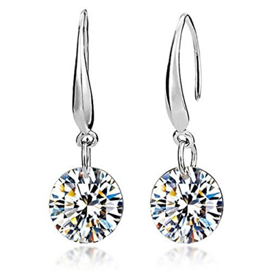 Habors White Gold 8mm Crystal Earrings For Women - JFED0570WG