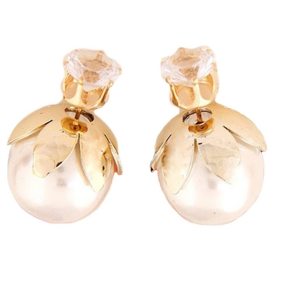 Habors White Rhinestone Studded Double Side Pearl Earrings for Women