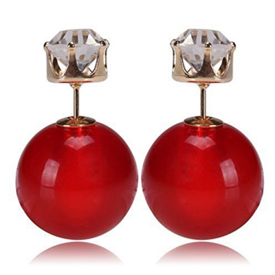 Habors Zircon and Red Pearl Double Side Earrings for Women