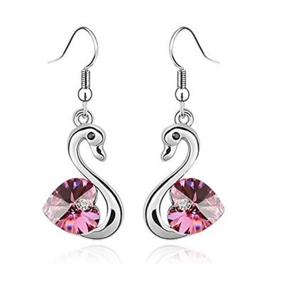 Habors Crystal Dangle & Drop Earring For Women (Silver)