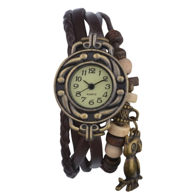 Habors Multiband Watch Brown Bracelet With Owl Charm