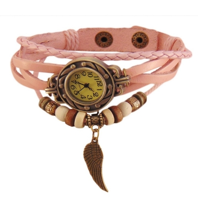 Habors Multiband Watch Light Pink Bracelet With Angel Wing charm for Girlss