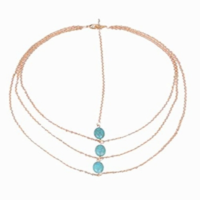 Habors Multistrand Turquoise Studded Hair Chain (JFBOD0121)
