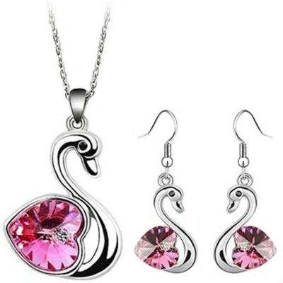 Habors 18K White Gold Plated Ocean Pink Romantic Swan Austrian Crystal Pendant Set for Women
