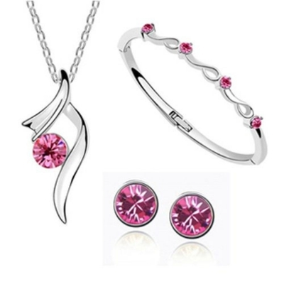 Habors 18K White Gold Plated Red Austrian Crystal Starshine Trendy Pendant Set