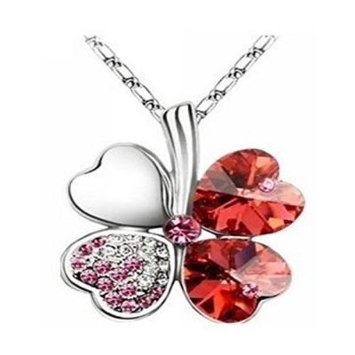 Habors 18K White Gold Plated Ocean Red Austrian Crystal Clover Leaf Pendant for Women