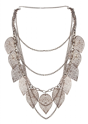 Habors Black Leaves Tassels Multilayer Necklace (JFND0451)