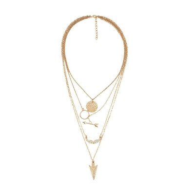 Habors Gold Multilayer Charms Necklace for Women (JFND0447)