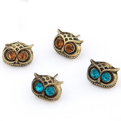 Habors Pack of 4 Small Owl Earrings
