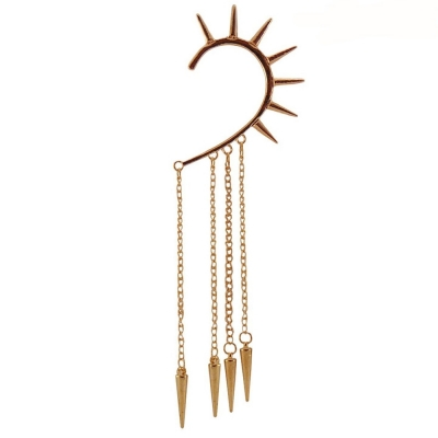 Habors Gold Punk Spike Tassels Ear Cuff